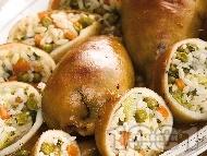 Пълнени калмари с ориз басмати и зеленчуци на фурна